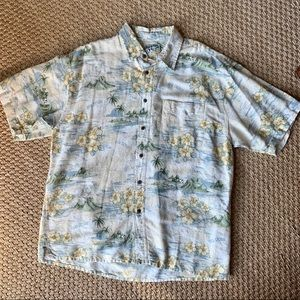 Big Dogs Hawaiian Print Short Sleeve Button Up Top